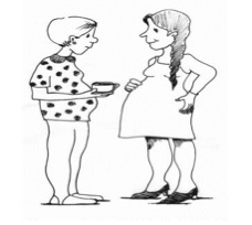 Two pregnant women chatting